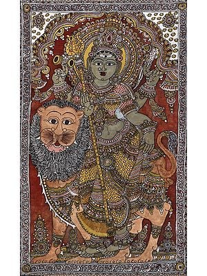 Devi Durga Seated On Her Lion