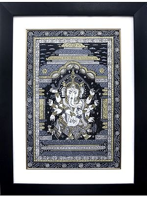 Lord Ganesha Dancing and Stretching a Snake Over His Head (Framed)
