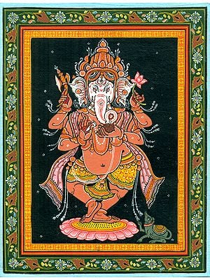 Dancing Ganesha Happily Twirling on his Toes, with a Modak and Mushak