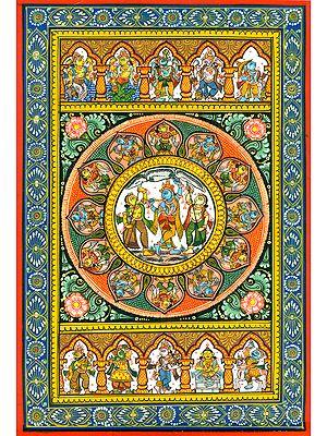 Govardhana Lila of Shri Krishna with Dashavatara