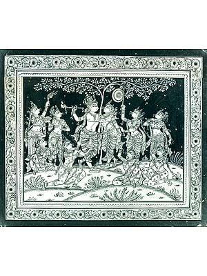 Lord Krishna With Radha And Eight Milkmaids