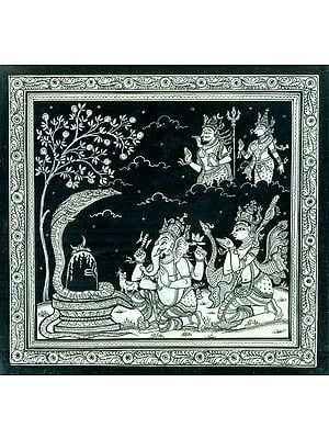 Ganesha and Kartikeya Worshiping the Shiva Linga