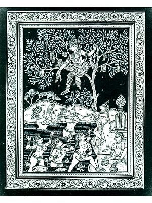 Krishna Playing his Naughty Lila with the Gopies