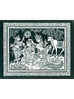 Krishna Combing his Beloved's Hair