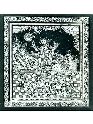 Gopies Witnessing the Fondness of Radha Krishna