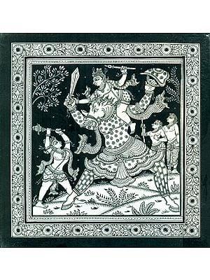 Krishna Trying to Kill the Keshi  Demon