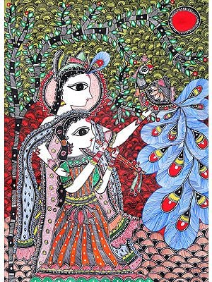 Radha Krishna with Peacock