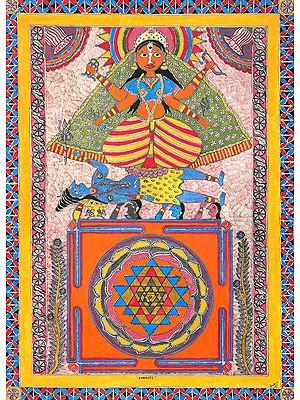Shodashi Mahavidya with Her Yantra (Tripura Sundari)