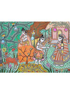 Rama Hunts the Golden Deer As Lakshmana Draws the Lakshman Rekha Around Sita