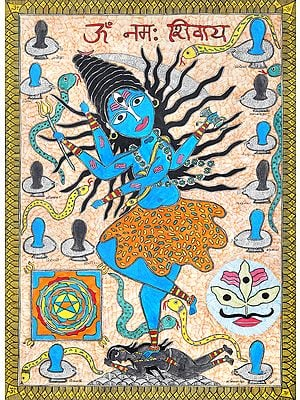 Dancing Shiva with Twelve Jyotirlingas