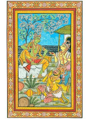 Fine Painting of Hanuman is Delighting to see Rama Conversing with Lakshman