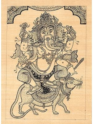 Lord Ganesha Sitting on His Vahan Mushak