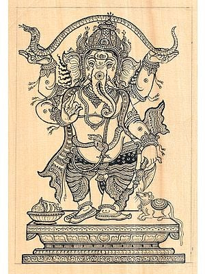 Standing Ganesha Stretching Serpent Making Canopy