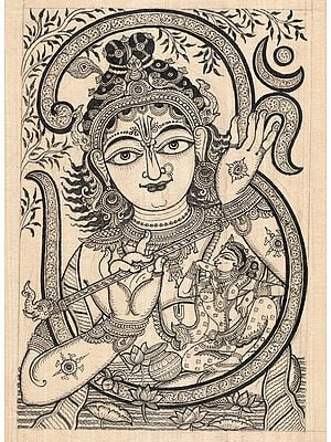 Lord Krishna with Om and Radha