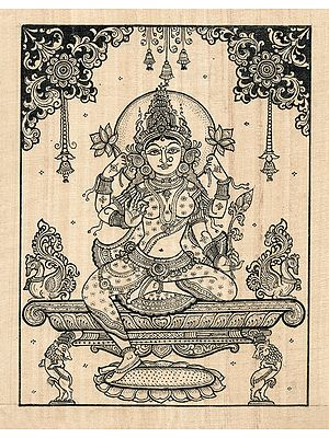 Goddess Lakshmi Seated in Her Cosmic Aura with Two Lions Near Her Feet