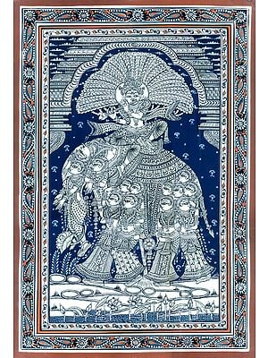 Fine Painting of Lord Krishna Seated on Elephant Made of Lady Figures