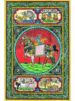 Krishna Seated on Horse Made of Lady Figures and Showing Krishna Leela