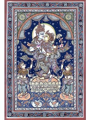 Standing Radha-Krishna On A Multi-Petalled Lotus