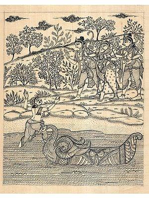 Kevat Calling Rama, Lakshman and Sita to Cross The River Saryu