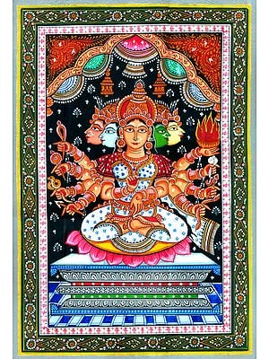 Five Headed Goddess Gayatri Seated on Lotus