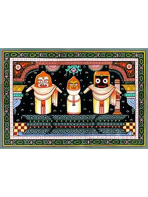 Jagannath-Balarama-Subhadra Clad In Ivory Garments