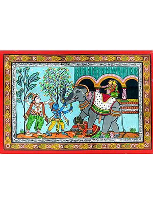 Lord Krishna and Balarama Killing The Demon Elephant Kuvalayapeeda