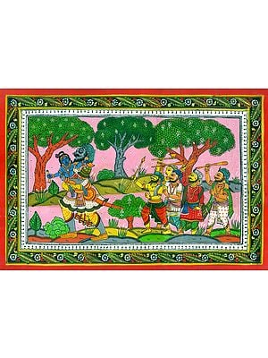 Demon Trinavarta Taking Away Lord Krishna (From The Bhagavat)