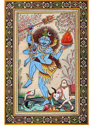 Blue-Skinned Nataraja And Nandi Vanquishing Apasmara