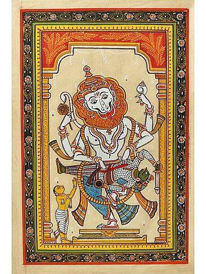 Narasimha Killing Hiranyakashipu with Namaskar Prahlada