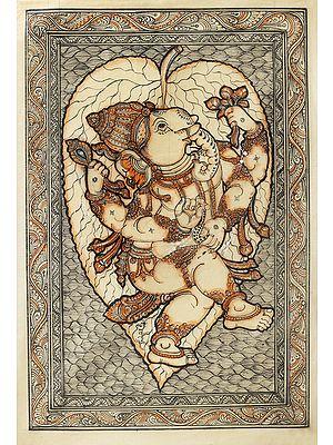 Lord Ganesha On A Floating Peepal Leaf