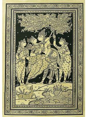 Dancing Radha Krishna Under The Magnificent Tree