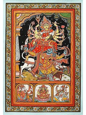 The Great Goddess Durga Destroyed Demon Mahishasura With Her Trident