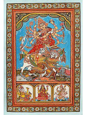 The Mighty Goddess Durga Killing The Demon Mahishasura With Her Trident