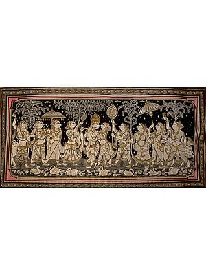 Radha and Krishna with Gopis in Attendance