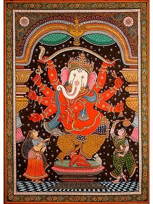 Red Ganesha with a White Elephant Head