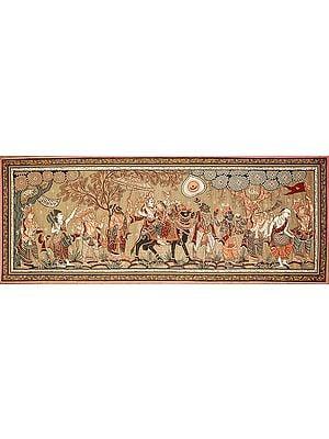 Shiva Parvati Returning After Marriage with Indra, Narada, Hanuman, A Great Saint (Shukracharya), Vishnu and Musicians