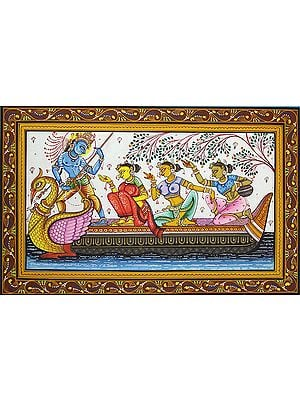 Shri Krishna and Gopis on the Ferry Boat of Love