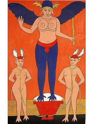 The Devil (Folk Tarot Card Illustration)