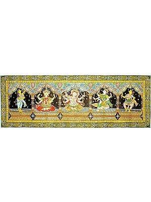 The Great Triad of Lakshmi, Ganesha and Saraswati with Attendants