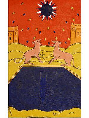 The Moon (Folk Tarot Card Illustration)
