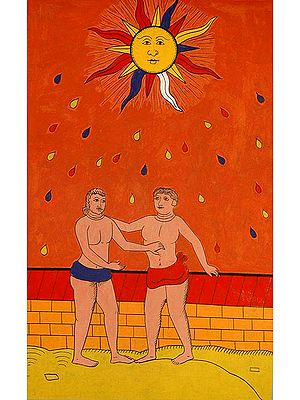 The Sun (Folk Tarot Card Illustration)
