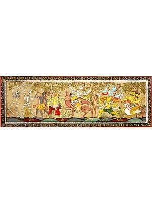 The Wedding Procession of Lord Shiva Accompanied with Lord Vishnu, Brahma, Saints and Ghosts