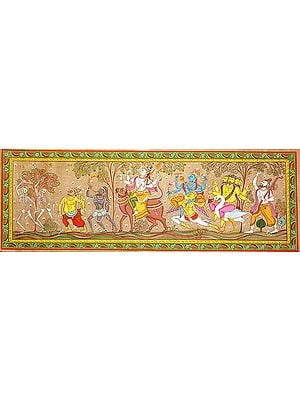 Lord Shiva Accompanied by Lord Vishnu, Brahma, Saints and Ghosts Going Parvati's Home to Marry Her