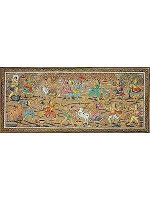 Radha and Krishna Playing Holi