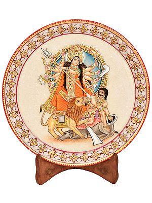 Devi Mahishasuramardini Against A Serene Blue Aureole