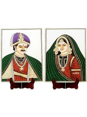 Rajasthani King and Queen (Embossed Painting)