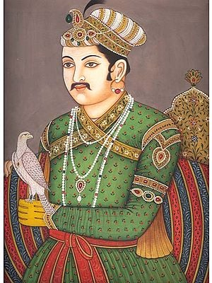 A Portrait of King Akbar the Falconer