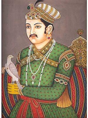 A Portrait of King Akbar the Falconer