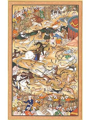 Akbar Hunting (folio from the Akbar-nama)