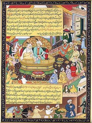 Chingiz Khan Dividing His Empire Between His Sons (Illustration from the Chingiz-nama)